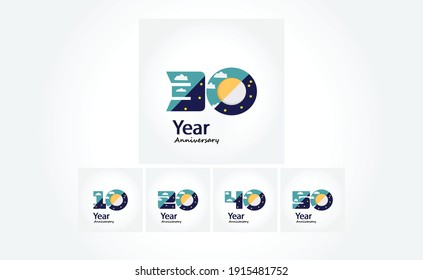 Set 30 Year Anniversary Logo Vector Template Design Illustration blue and white