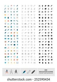set of 300 education icons made in color, line and black, vector illustration