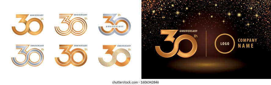 Set of 30th Anniversary logotype design, Thirty years Celebrating Anniversary Logo silver and golden for celebration event, invitation, greeting, Infinity logo vector illustration, web template, flyer