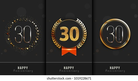 Set of 30th Happy anniversary cards template.