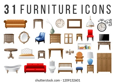 Set of 31 highly detailed furniture icons