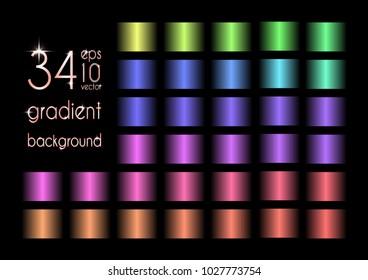 Set of 34 blue, red, yellow, orange, green, purple gradient colors