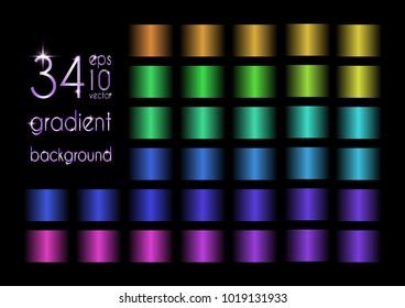 Set of 34 blue, yellow, green, purple gradient colors
