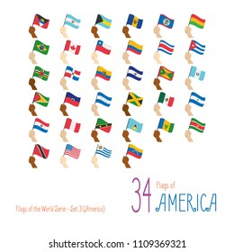 Set of 34 flags of America. Hand raising the national flags of 34 countries of America. Icon set Vector Illustration.
