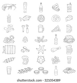 Set of 35 Beer Icons. Beer and snacks. Vector illustration on a white background. Elements for design.