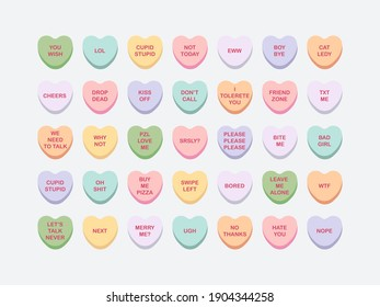 A set of 35 candy conversation hearts. Anti-valentine day theme. Vector multicolored sweets on isolated background. Funny sarcastic quotes. For the design of postcards, clothes, web.