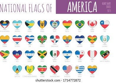 Set of 35 heart shaped flags of the countries of America. Icon set Vector Illustration.