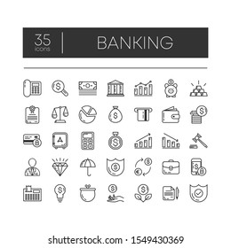 Set of 35 line icons of banking for modern concepts, web and apps on white background. Vector illustration.