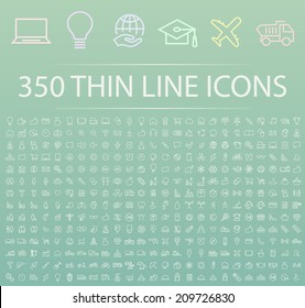 Set of 350 Minimal Modern Thin Stroke White Icons (Multimedia, Business, Ecology, Education, Family, Medical, Fitness, Shopping, Construction, Travel, Hotel ) on Color Background.