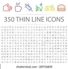 Set of 350 Minimal Modern Thin Stroke Black Icons (Multimedia, Business, Ecology, Education, Family, Medical, Fitness, Shopping, Construction, Travel, Hotel ) on White Background.