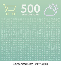Set of 350 Standard Universal Minimal Modern Thin Line White Icons on Color Background.