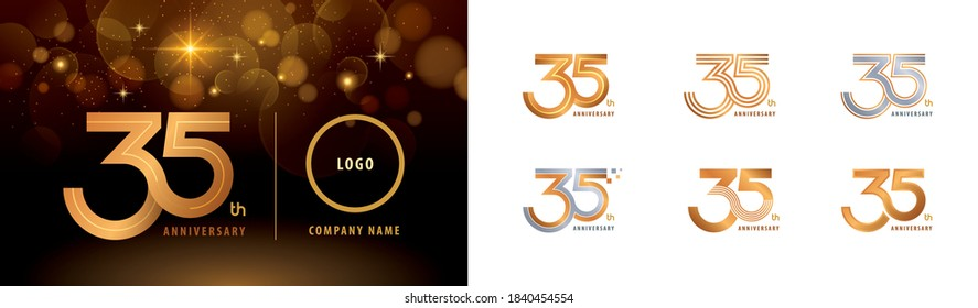 Set of 35th Anniversary logotype design, Thirty five years Celebrate Anniversary Logo multiple line for Congratulation celebration event, invitation card, greeting, Abstract 35 silver and golden logo
