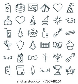 Set of 36 celebration outline icons such as fence, animal fang, bow tie, heart, graduation hat, cake, opened champagne, circus, christmas tree, tent, pine-tree, love letter