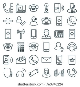Set of 36 contact outline icons such as signal tower, call, desk phone, poker on phone, mail, add user, support, hand on smartphone, atom interaction, customer support