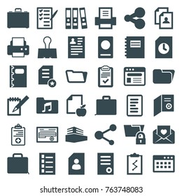 Set of 36 document filled icons such as passport, document, resume, printer, folder, notepad, share, diploma, case, clipboard with chart, paper and apple, check list