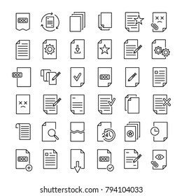 Set of 36 document thin line icons. High quality pictograms of file. Modern outline style icons collection. Data, bureaucracy, paper, business, etc.