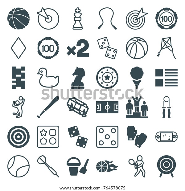 Set of 36 game filled and outline icons such as bucket toy for beach, 100 casino chip, casino chip, lottery, menu, skipping rope, dice, domino, golf, target, football pitch