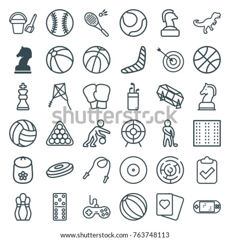 Set of 36 game outline icons such as horse chess, field, baby toy, beach ball, joystick, boomerang, bucket toy for beach, domino, lottery, billiards, target, spades