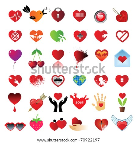 Set 36 Hearts Different Symbols Signs Stock Vector Royalty Free