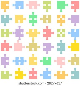 Set of 36 jigsaw puzzle pieces of various shapes fitting each other, vector ( for high res JPEG or TIFF see image 28277620 )