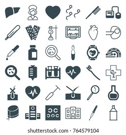 Set of 36 medicine filled and outline icons such as shave hair in skin, toothbrush, heartbeat, hospital, blod pressure tool, test tube, drop counter, medical bottle, bacteria