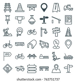 Set of 36 road outline icons such as map location, direction, airport bus, parking, barrier, direction   isolated, cangaroo, tunnel, road, wet floor, pin, cone