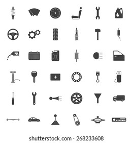 Set of 36 simple car parts icons.