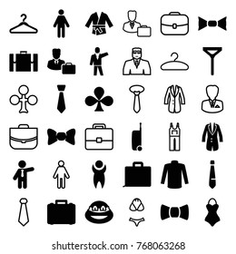 Set of 36 suit filled and outline icons such as sweater, tie, bow tie, businessman, ninja, man, case, jacket, male consultant   with case, kimono, swimsuit, suitcase, clubs