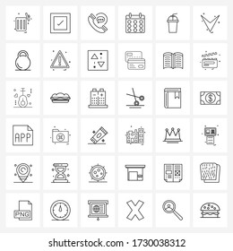 Set of 36 Universal Line Icons of soda; drink; phone; cup; day Vector Illustration