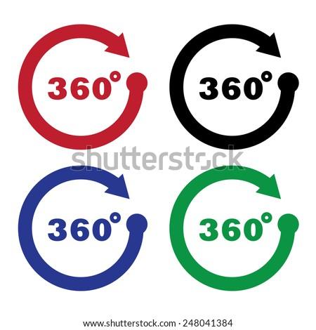 Set 360 Degrees Symbol Stock Vector Royalty Free 248041384