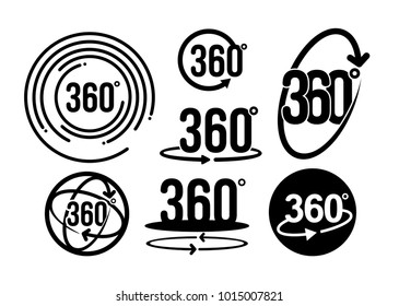 Set of 360 degrees view related graphic element that can be used as a logo or icon for your design. Vector illustration. Modern style with circle lines. Isolated on white background