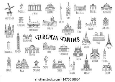 Set of 37 hand drawn landmarks from various European capitals, black ink illustrations