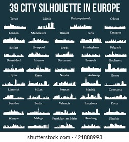 Set of 39 city silhouette in Europe ( London, Berlin, Madrid, Dortmund, Warsaw, Palermo, Liverpool, Brussels, Barcelona, Paris, Bucharest, Antwerp, Valencia, Zaragoza, Lyon, Palermo, Dusseldorf,  )