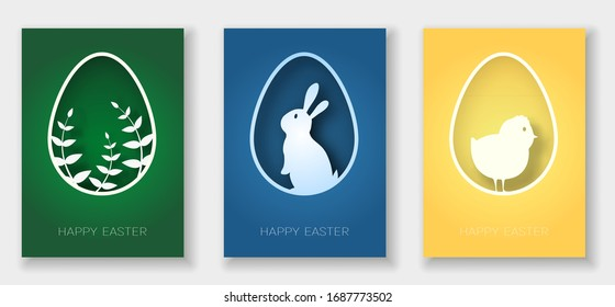 Set of 3d abstract paper cut banner of rabbit, chicken, plant and eggs. Happy easter greeting card template.