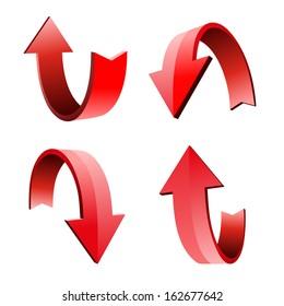 Set of 3d arrow, vector illustration
