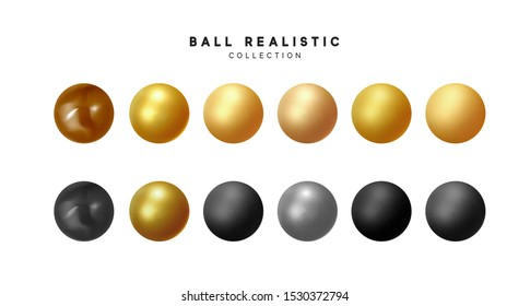 Set of 3d balls isolated. Round Sphere, geometric objects, pearl made of metal and plastic. Balls matte and glossy, gold and beige, black brown, silver colors. vector illustration