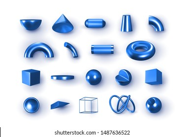 Set of 3d blue Geometric Shapes Objects. Realistic geometry elements isolated on white background, on metallic color gradient. Render Decorative sapphirine figure for design. vector illustration