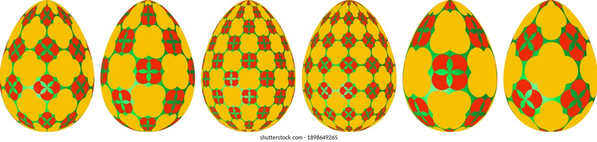 set of 3d bright yellow green Easter eggs on isolated white background, with mosaic pattern