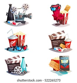 Set of 3d cartoon cinema design concepts with elements of cinematography equipment and viewers accessories  isolated vector illustration