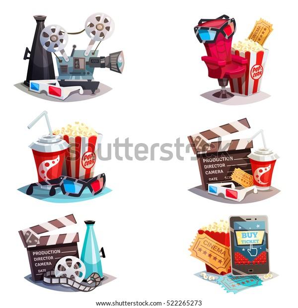Комплект концептов дизайна 3D мультфильма с элементами кинематографического оборудования и аксессуаров зрителя изолированной векторной иллюстрации