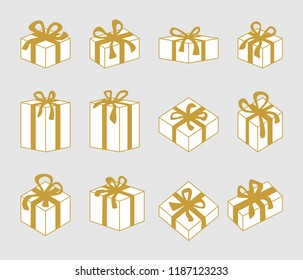 Set of 3D Christmas boxes. Simple design for cards, banners and posters. Golden and white.