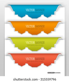 Set of 3d colorful stickers on white paper with Islamic design