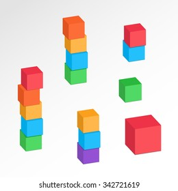 Set of 3d cube combinations. Compositions of tree, five blocks. Association, union, join, building, logo, project, game symbol. Colorful icons with shadow. Infographic elements. Vector