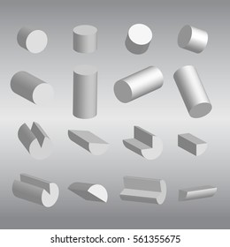 set of 3D Cylindrical and fractions vector