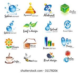 Set of 3D design elements.