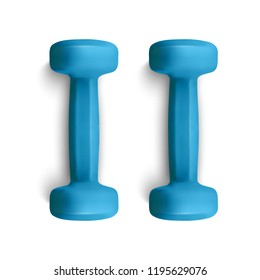 Set of 3d Dumbbells Set, Realistic Detailed Closeup View Isolated on White Background. Sport Element. Vector illustration of Fitness Dumbbell