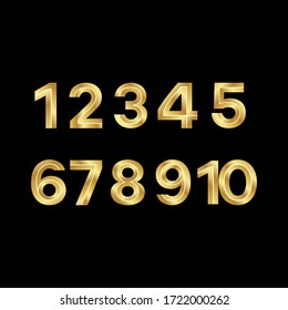 Set of 3D Elegant Gold numbers. golden numbers 1-9 isolated on a black background
