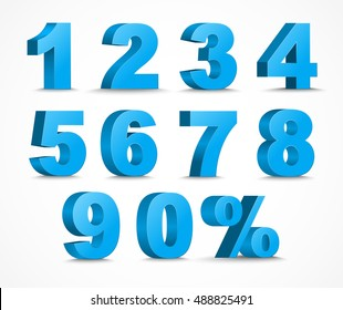 set of 3D figures and percent sign. The template in blue color