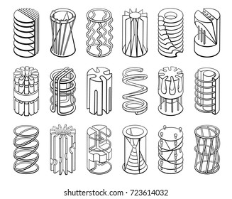 Set of 3D geometric shapes cylinder designs. Outline objects isolated on white background. Vector collection