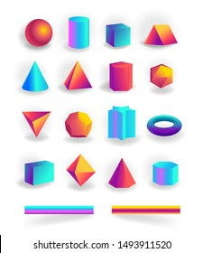 Set of 3d geometric shapes and editable strokes with holographic gradient isolated on white background, figures, polygon primitives, maths and geometry, vector illustration